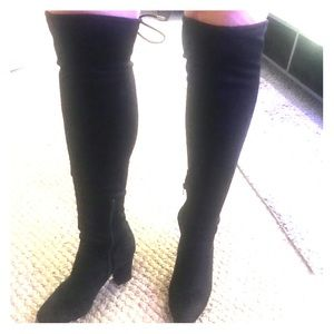 Black suede over the knee heeled boots
